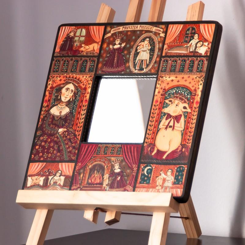 """Tablou pe lemn cu oglindă, """"Povestea porcului"""", 23x23 cm"""