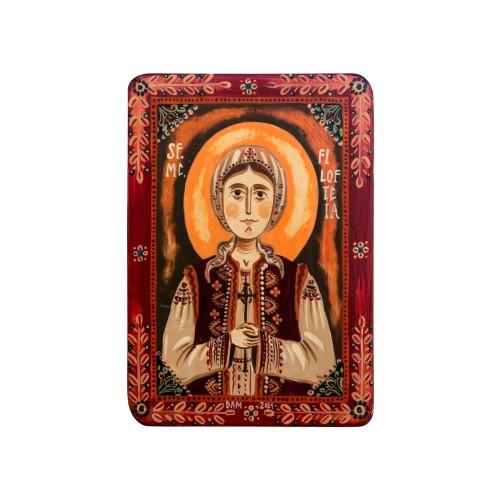"""Wood icon, """"St. Philothea of Arges"""", miniature, 7x10cm"""