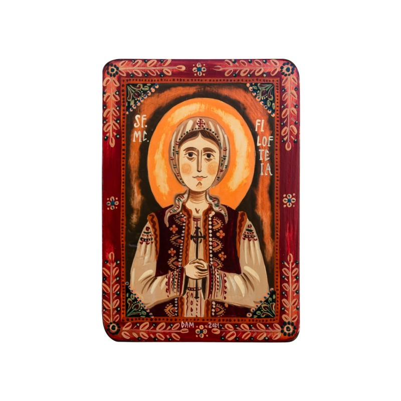"Wood icon, ""St. Philothea of Arges"", miniature, 7x10cm"