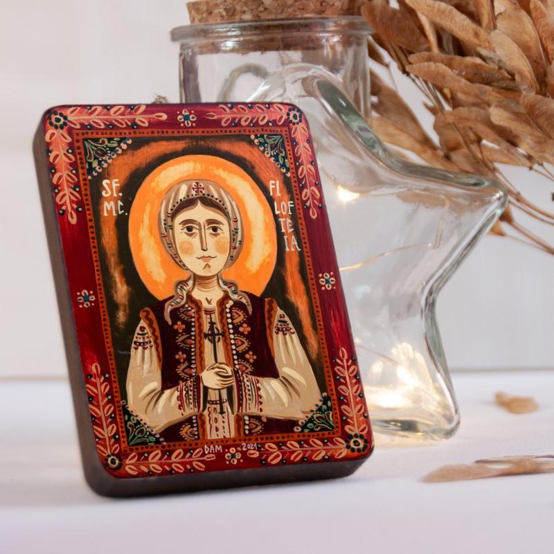 """Icoană pe lemn """"Sfânta Muceniță Filofteia"""", miniatură, 7x10 cm"""