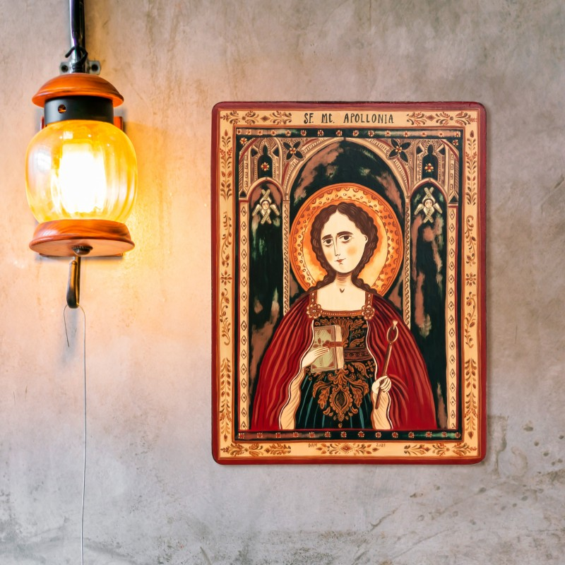 """Icoană pe lemn """"Sfânta Apollonia"""""""