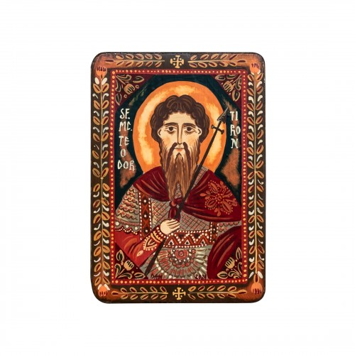 "Wood icon, ""Saint Theodore of Amasea"", miniature, 7x10cm"