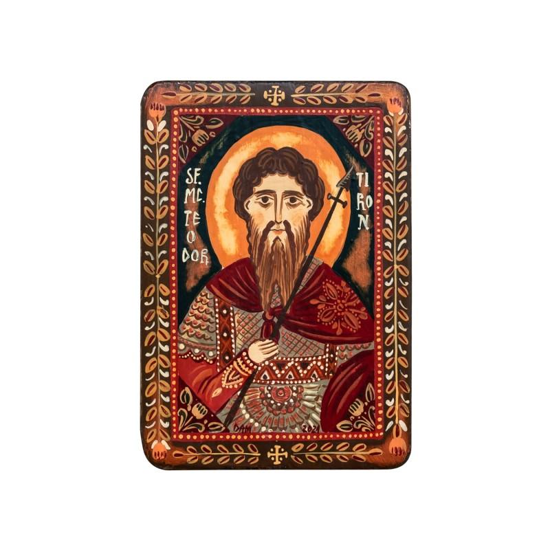 """Icoană pe lemn """"Sfântul Teodor Tiron"""", miniatură, 7x10 cm"""