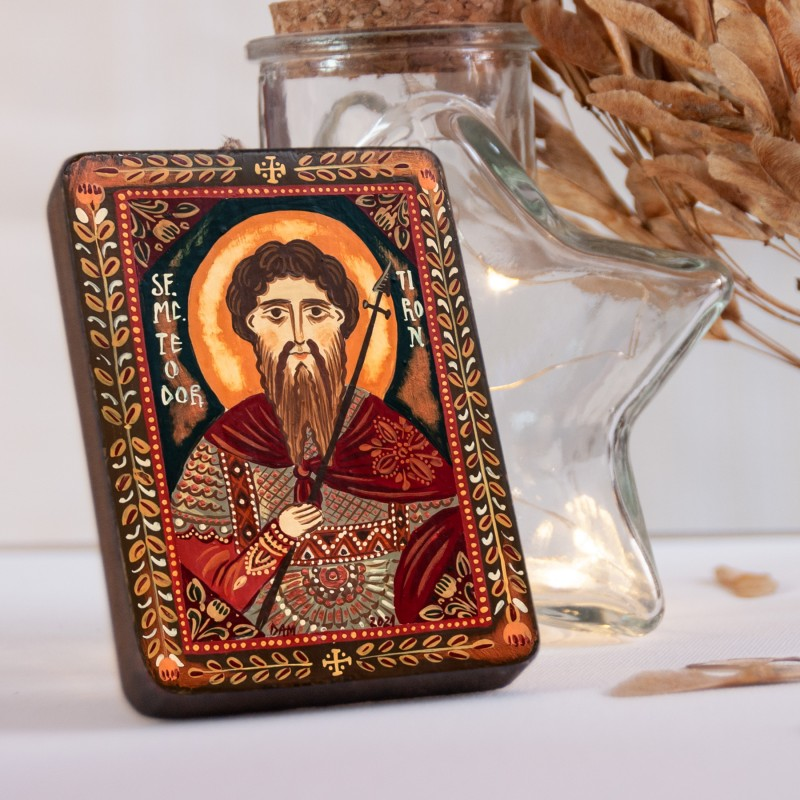 "Wood icon, ""Saint Theodore of Amasea"", miniature, 7x10cm"