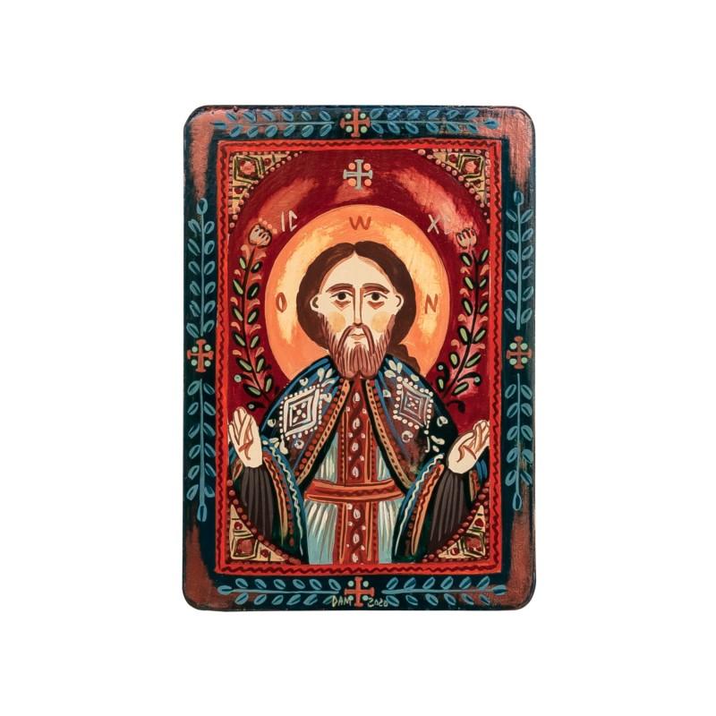 """Icoană pe lemn """"Iisus Hristos"""", miniatură, model 2, 7x10 cm"""