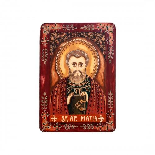 """Wood icon, """"Saint Matthias, the Apostle"""", miniature, 7x10cm"""
