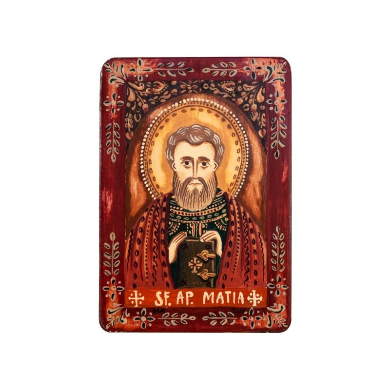 """Icoană pe lemn """"Sfântul Apostol Matia"""", miniatură, 7x10 cm"""
