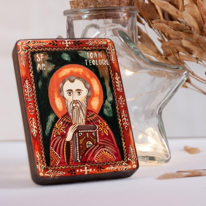 """Icoană pe lemn """"Sf. Ap. Ev. Ioan"""", miniatură, 7x10 cm"""