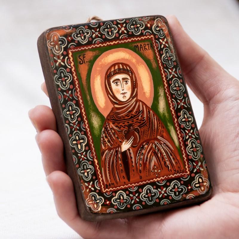 "Wood icon, ""Saint Martha of Bethany"", miniature, 7x10cm"