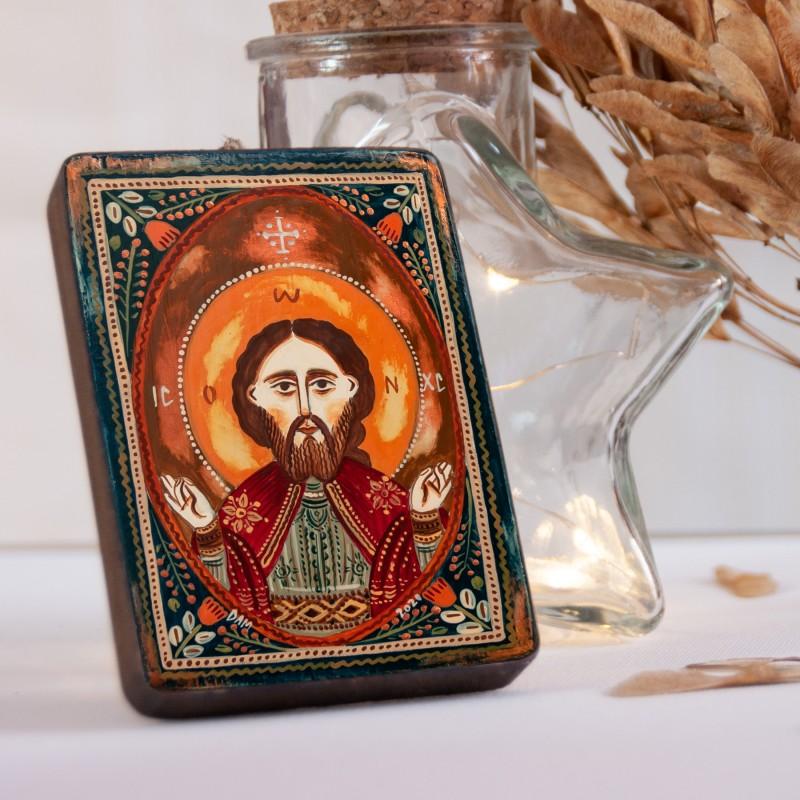 "Wood icon, ""Jesus Christ"", miniature, 7x10cm"