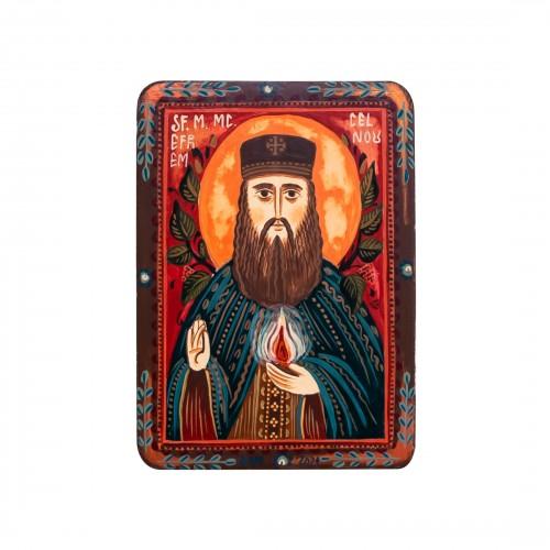 """Wood icon, """"Saint Ephraim of Nea Makri"""", miniature, 7x10cm"""