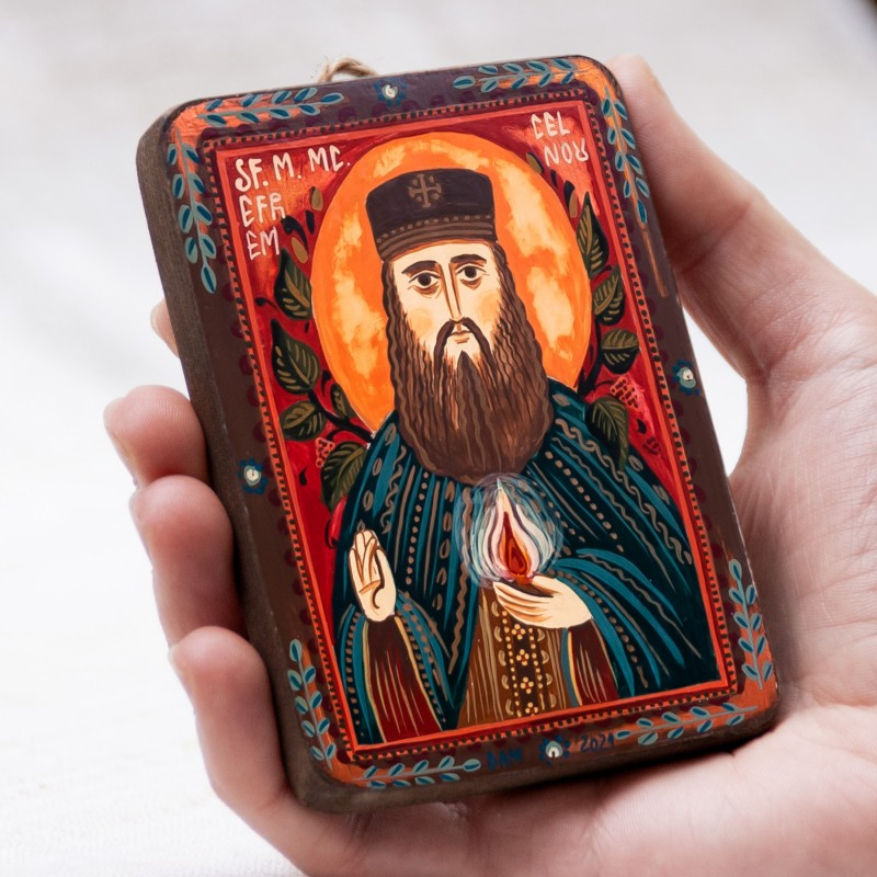"Wood icon, ""Saint Ephraim of Nea Makri"", miniature, 7x10cm"