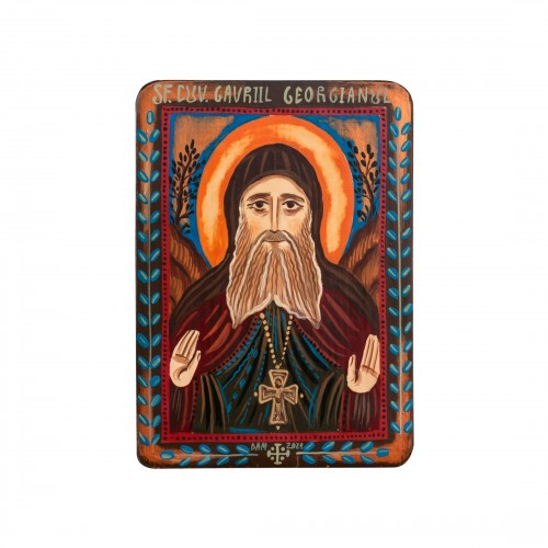 "Wood icon, ""Saint Gabriel Urgebadze"", miniature, 7x10cm"