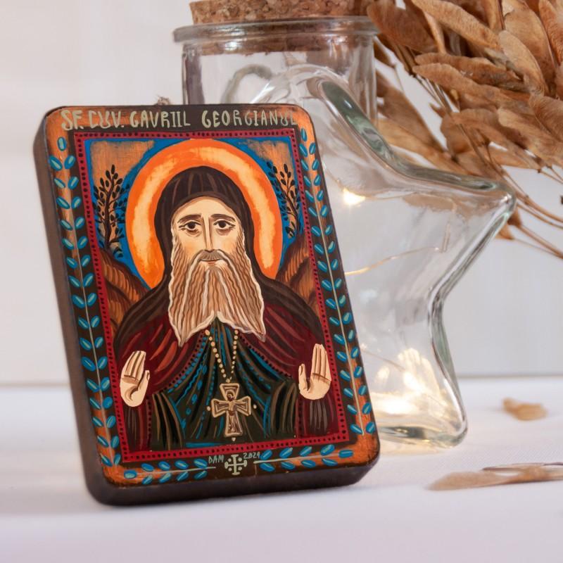 "Wood icon, ""Saint Gabriel Urgebadze"", miniature, 7x10cm"