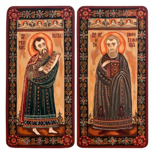 """Icoană pe lemn tip diptic """"Sf. Pr. Elisei și Sf. Ap. Ev. Ioan"""", 2 x 10x20cm"""