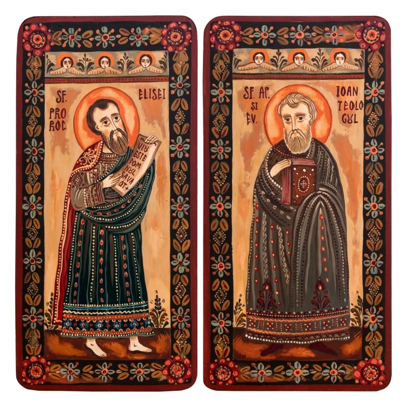 "Wood icon, diptych, ""St. Elisha and St. John"", 2 x 10x20 cm"