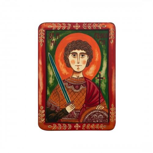 "Wood icon, ""St. Procopius"", miniature, 7x10cm"