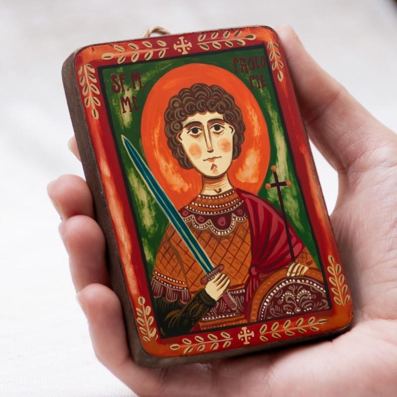 """Icoană pe lemn """"Sf. Mare Mucenic Procopie"""", miniatură, 7x10 cm"""