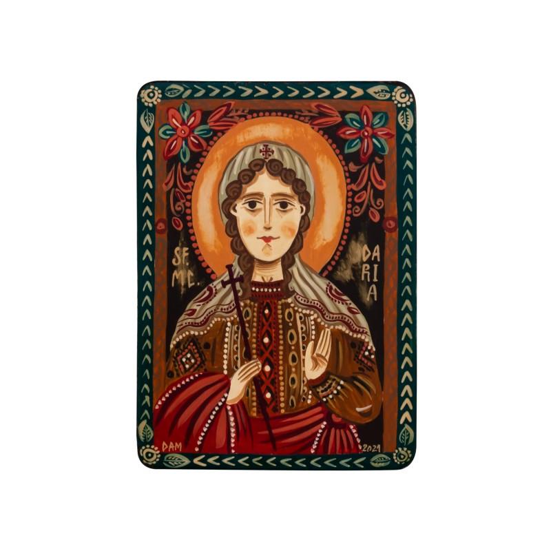 """Icoană pe lemn """"Sf. Muceniță Daria"""", miniatură, 7x10 cm"""