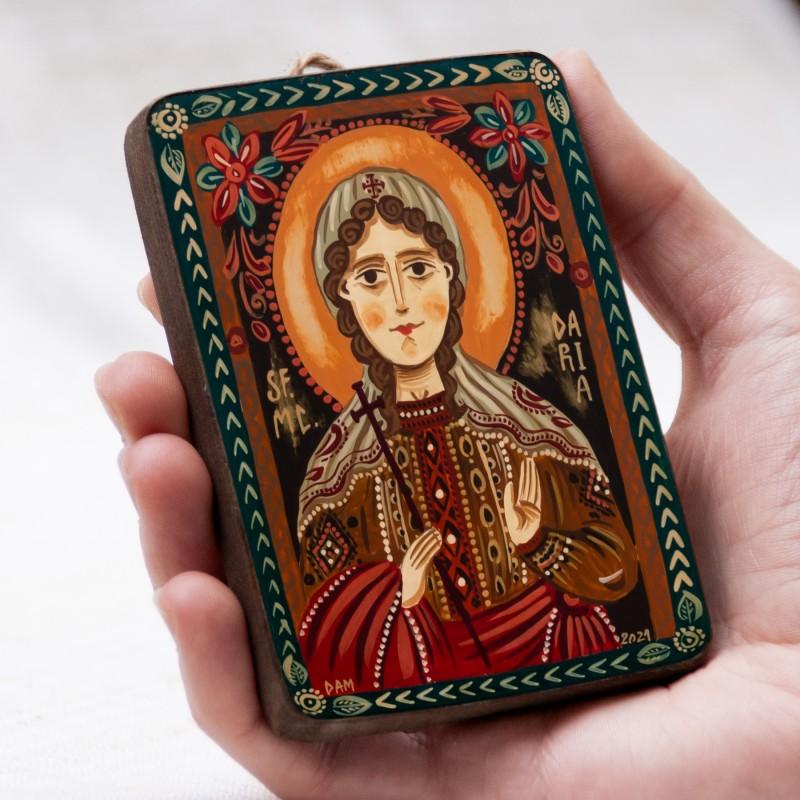 "Wood icon, ""St. Daria"", miniature, 7x10cm"