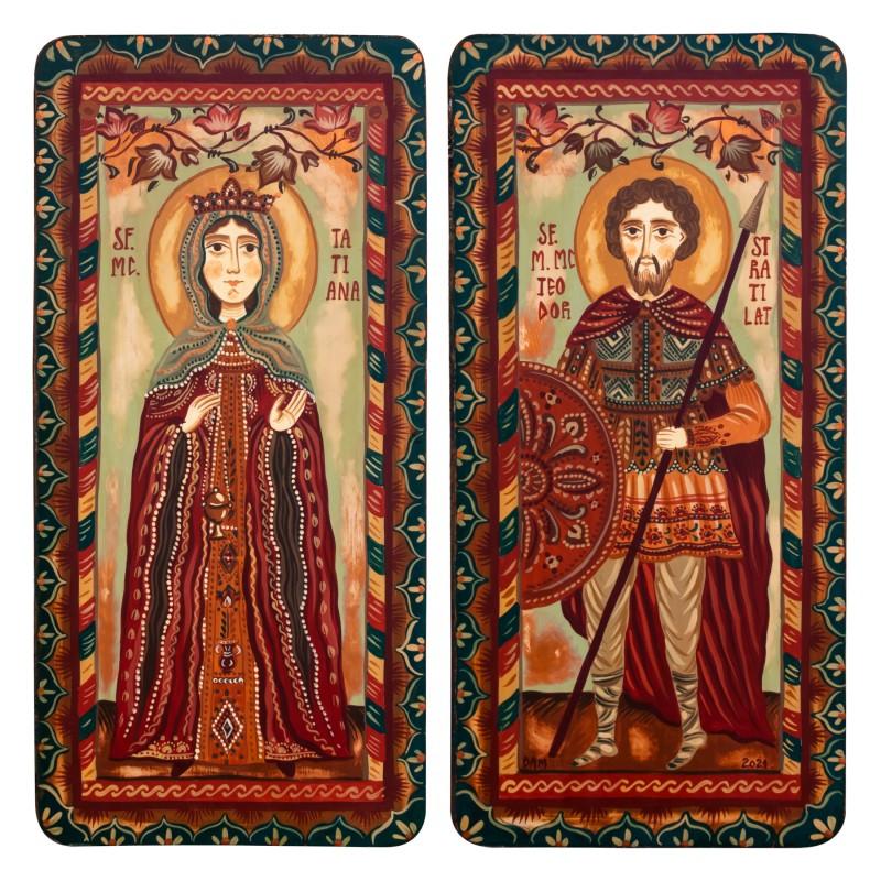 """Icoană pe lemn tip diptic """"Sf. Mc. Tatiana și Sf. Teodor Stratilat"""", 2 x 10x20cm"""