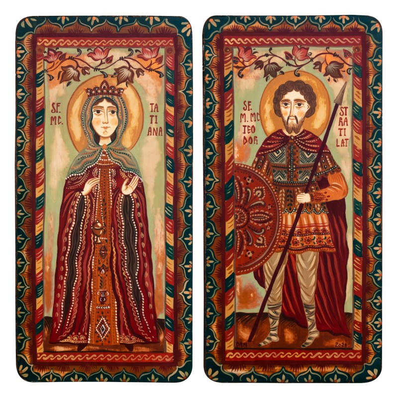 "Wood icon, diptych, ""St. Tatiana and St. Theodore the Stratelates"", 2 x 10x20 cm"