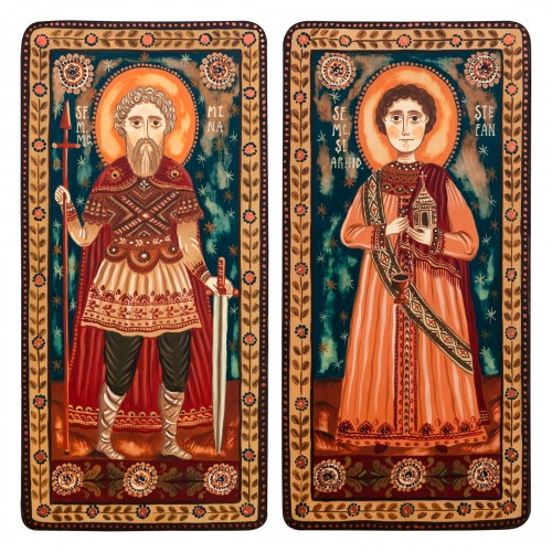 "Wood icon, diptych, ""St. Menas of Egypt and St. Stephen the Protomartyr"", 2 x 10x20 cm"