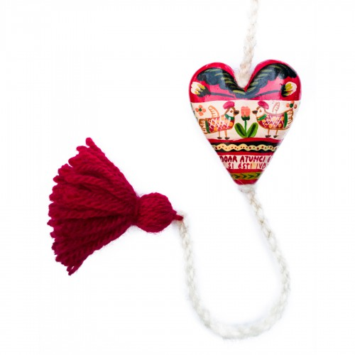 "Heart figurine with tassel, model 1, ""You'll be happy only then..."", 4.5x5.5 cm"