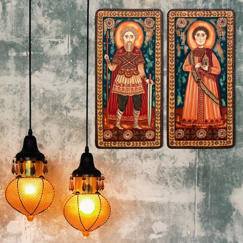 """Icoană pe lemn tip diptic """"Sf. M. Mc. Mina și Sf. Mc. Ștefan"""", 2 x 10x20cm"""