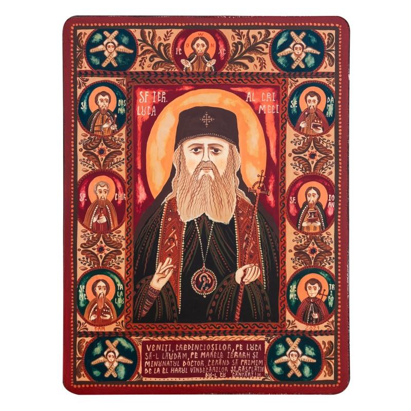 """Wood icon, """"St. Luke, Bishop of Simferopol and Crimea"""""""