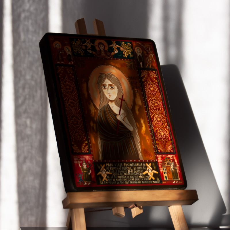 "Wood icon, ""Saint Mary of Egypt"""