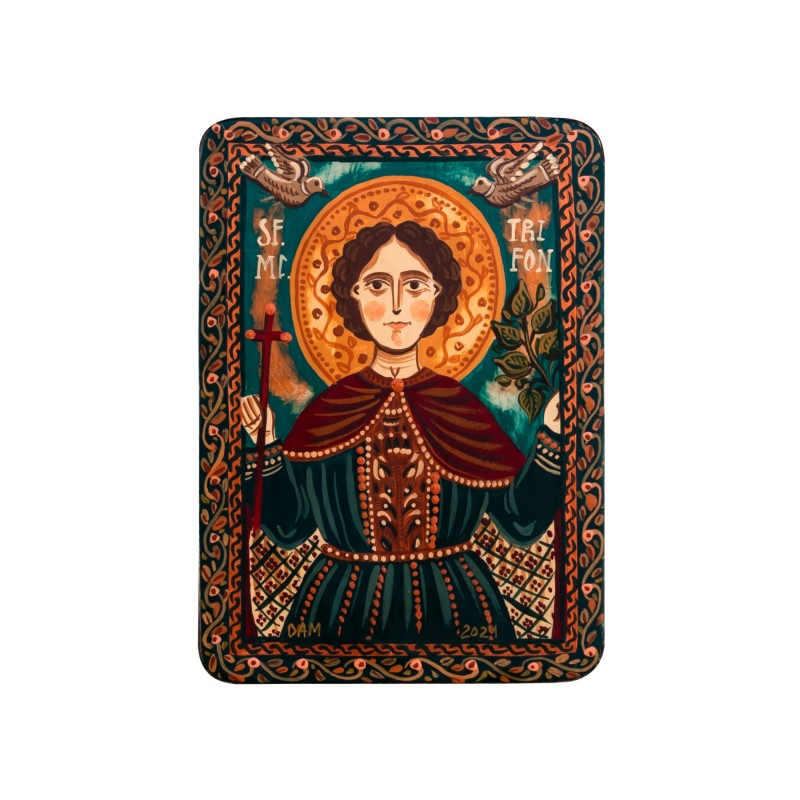 "Wood icon, ""Saint Tryphon"", miniature, 7x10cm"