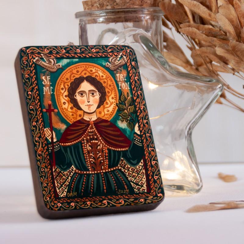 """Icoană pe lemn """"Sf. Mc. Trifon"""", miniatură, 7x10 cm"""