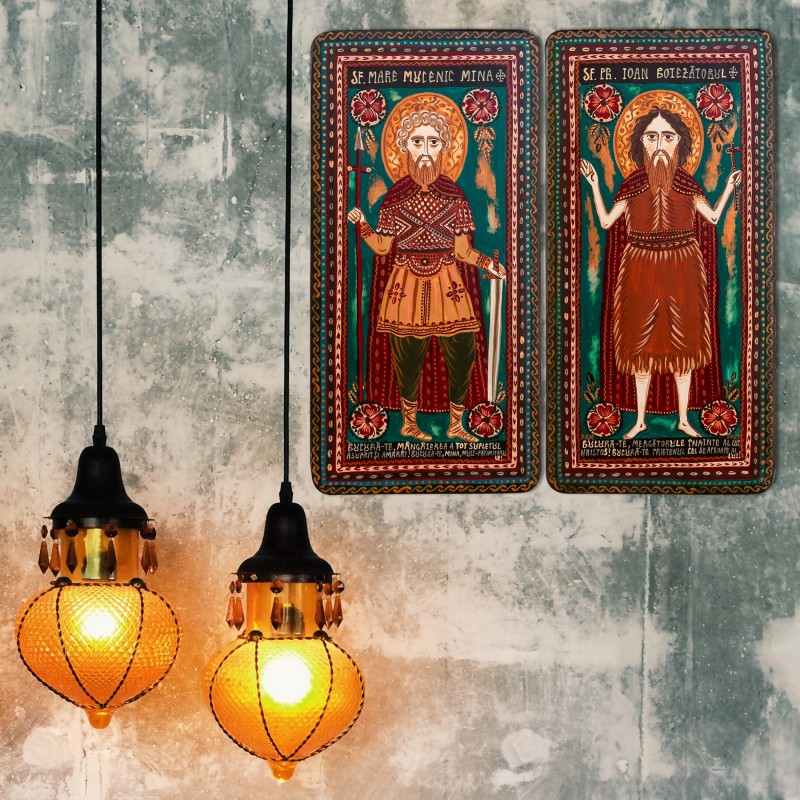 """Icoană pe lemn tip diptic """"Sf. M. Mc. Mina și Sf. Ioan Botezătorul"""", 2 x 10x20cm"""