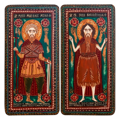 """Wood icon, diptych, """"St. Menas of Egypt and St. John the Forerunner"""", 2 x 10x20 cm"""