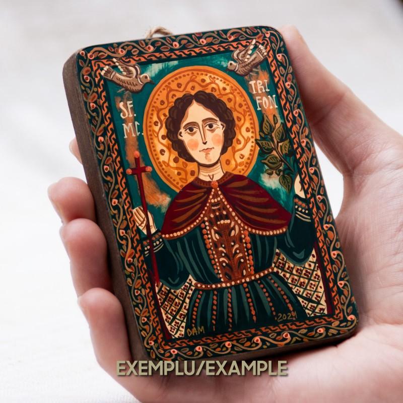 Icoană pe lemn miniatură - personalizată, 7x10 cm (1 personaj)