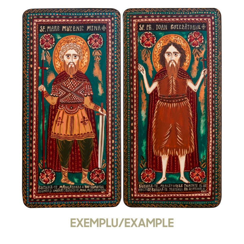 Wood icon, diptych - personalised - 2 x 10x20 cm