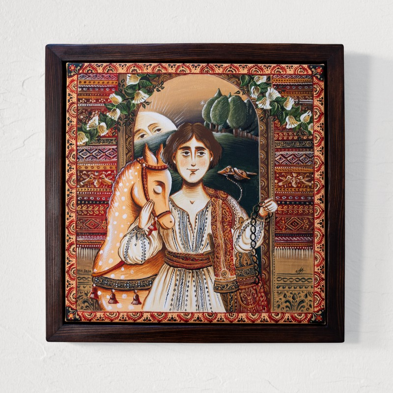 """Canvas painting, """"Prince Charming"""", 30x30 cm, wooden frame"""