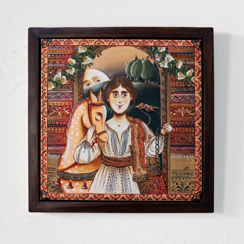 """Tablou pe pânză """"Făt-Frumos"""", 30x30 cm, ramă lemn, pictat manual"""