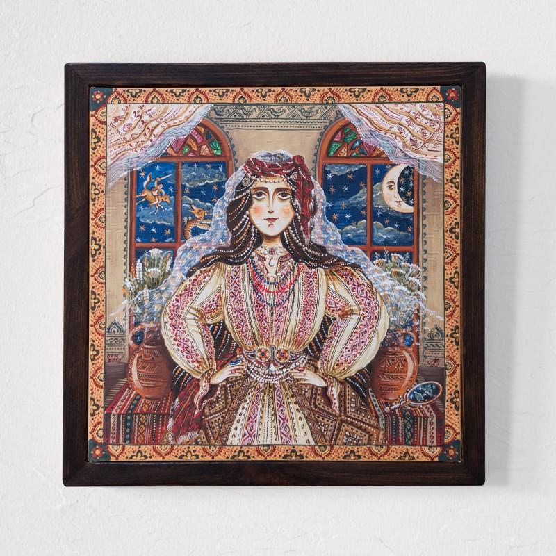 """Tablou pe pânză """"Frumoasa Lumii. Zâna Zânelor."""", 30x30 cm, ramă lemn, pictat manual"""