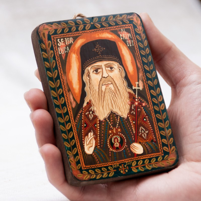 "Wood icon, ""Saint Luke"", miniature, 7x10cm"