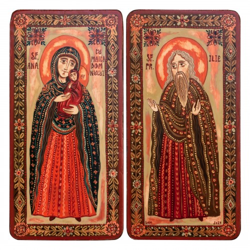 """Wood icon, diptych, """"St. Anne with Virgin Mary and St. Elijah"""", 2 x 10x20 cm"""