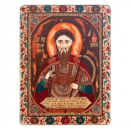 "Wood icon, ""Saint Theodore of Amasea"""