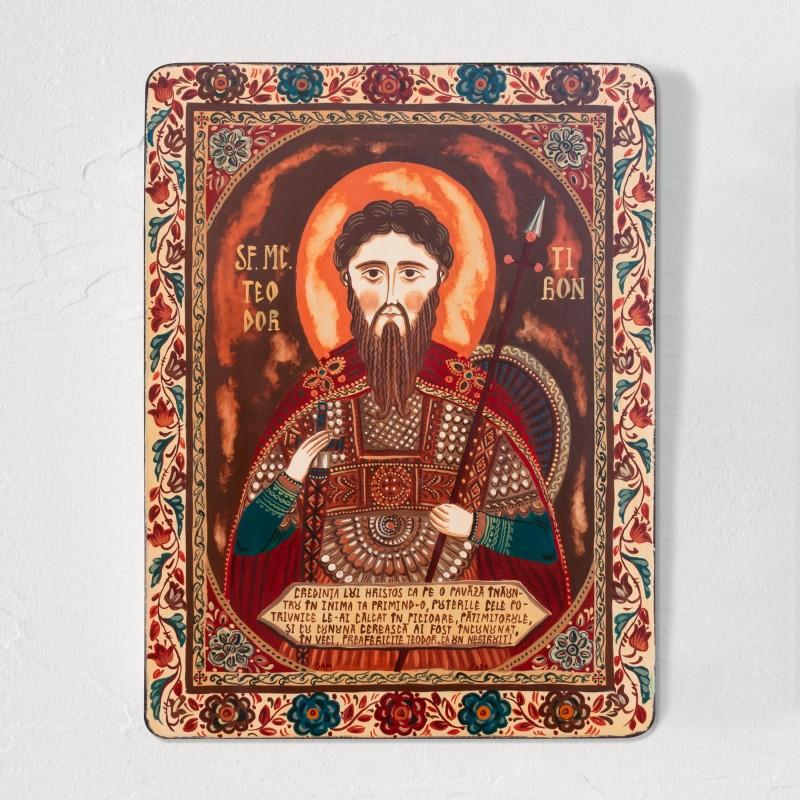 """Icoană pe lemn """"Sfântul Teodor Tiron"""""""