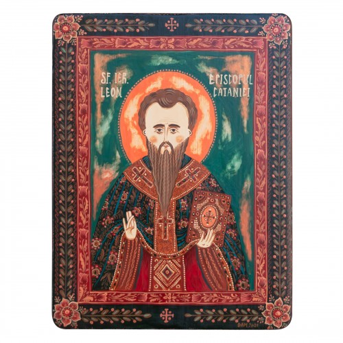 "Wood icon, ""Saint Leo, Bishop of Catania"""