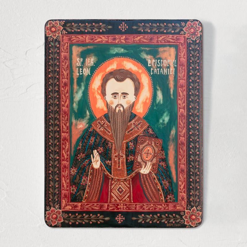 """Icoană pe lemn """"Sf. Ierarh Leon, Episcopul Cataniei"""""""