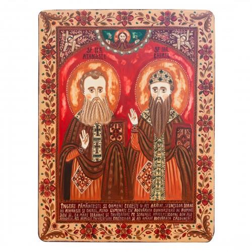 """Icoană pe lemn """"Sfinții Atanasie și Chiril"""""""