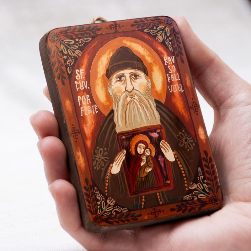 """Icoană pe lemn """"Sf. Porfirie Kavsokalivitul"""", miniatură, 7x10 cm"""