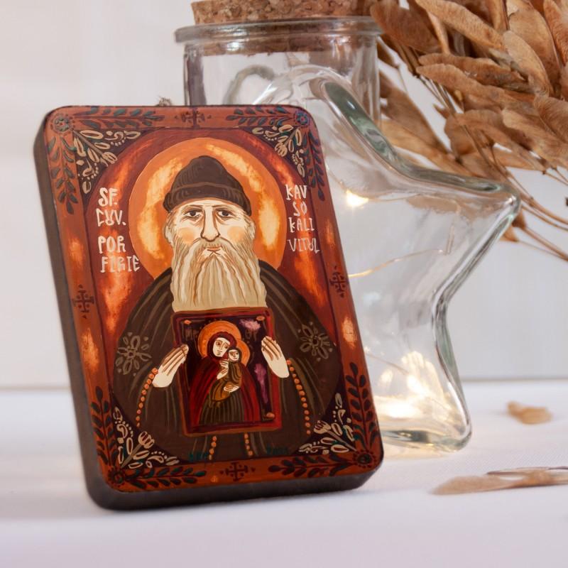 """Wood icon, """"Saint Porphyrios the Kapsokalivite, miniature, 7x10cm"""