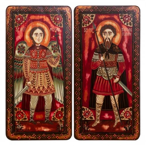 "Icoană pe lemn tip diptic ""Sf. Arh. Mihail și Sf. Mc Teodor Tiron"", 2 x 10x20cm"